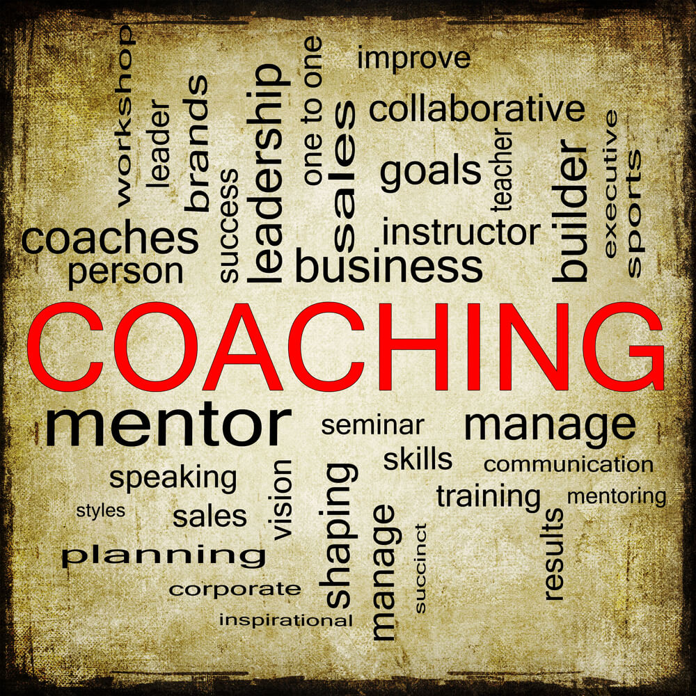 Coaching is the focus of a poster of a word cloud of related concepts