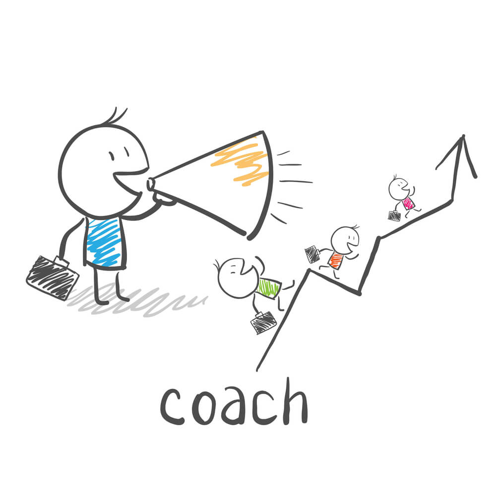 Drawing of a coach with a bull horn encouraging solution selling training participants along the right path