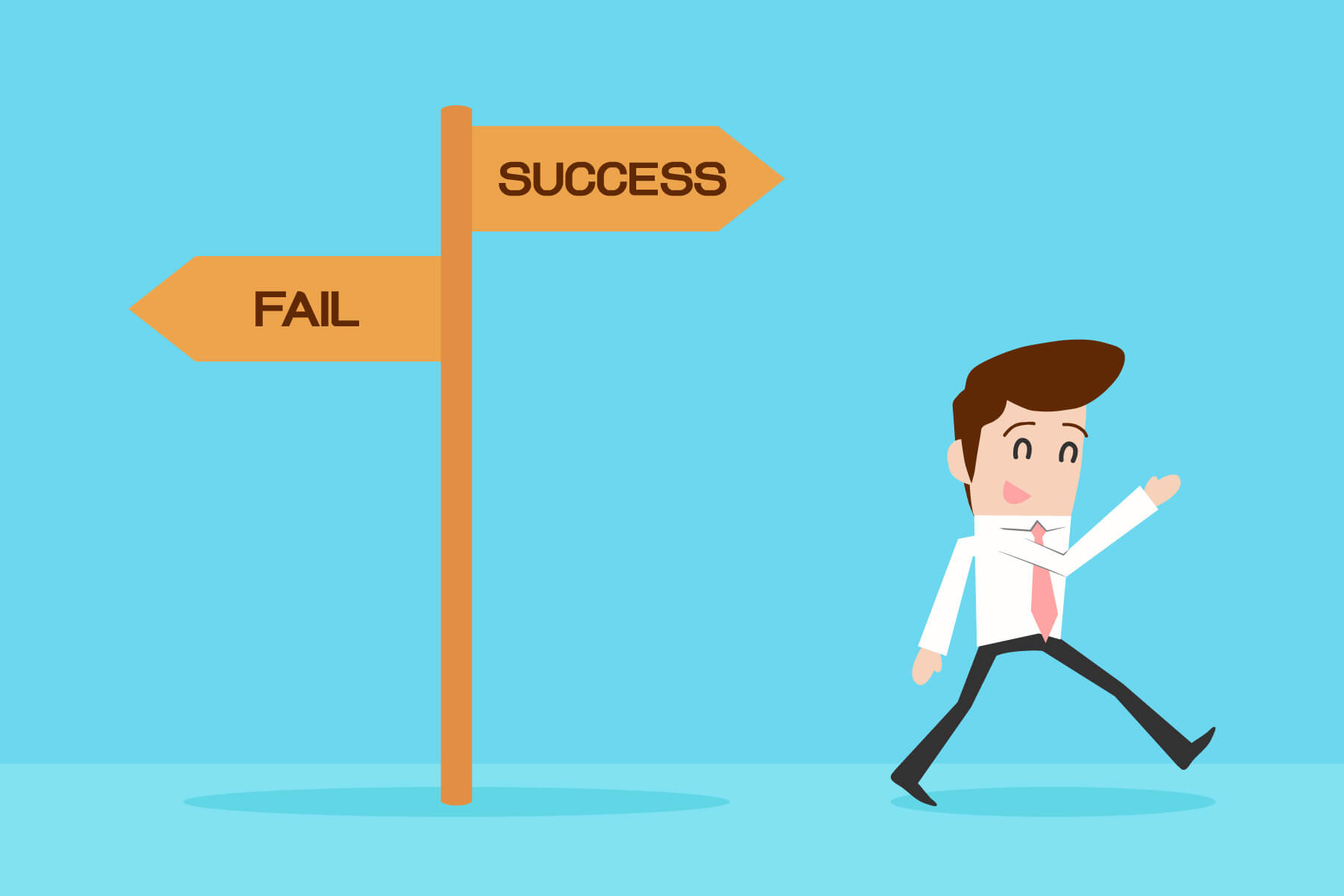A cartoon businessman walks happily in the direction of the sign labeled success