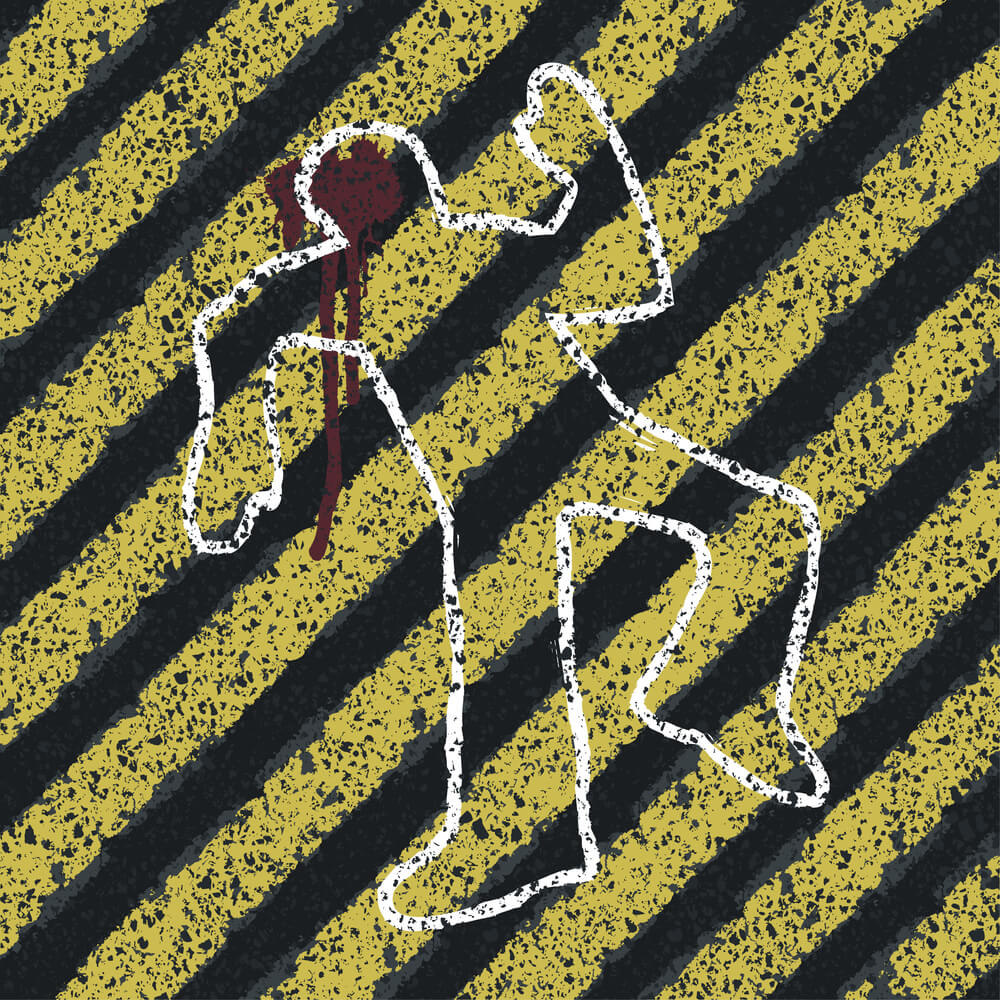 A chalk outline of a crime victim