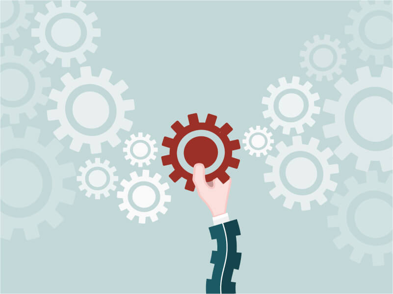 The key cog is being added to the gears to enable the process to function