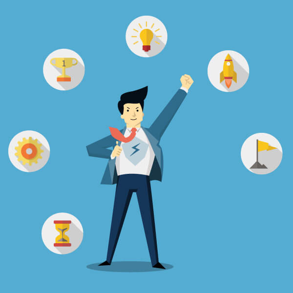 graphic of a super salesman surrounded by symbols of success