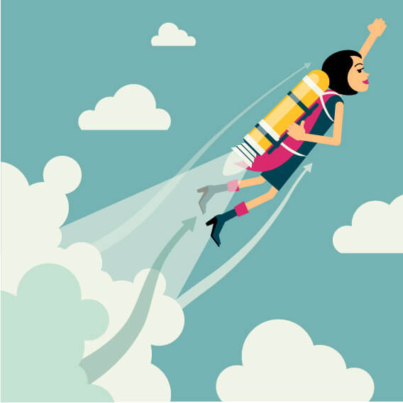 graphic of a woman with a rocket boost after learning more Effective Sales Training Role Plays